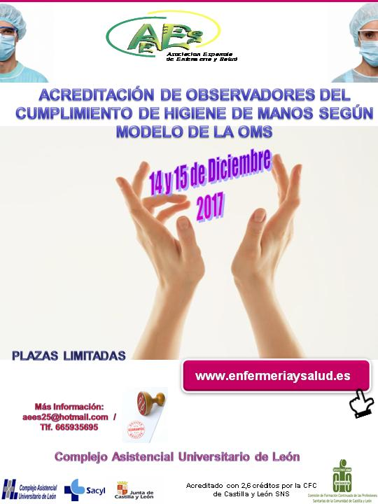 Curso de Acreditación de Observadores del Cumplimiento de Higiene de Manos SEGÚN MODELO DE LA O. M. S. (2ª EDICIÓN)