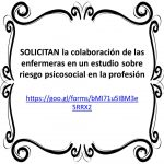 SOLICITAN la colaboración de las enfermeras en un estudio sobre riesgo psicosocial en la profesión
