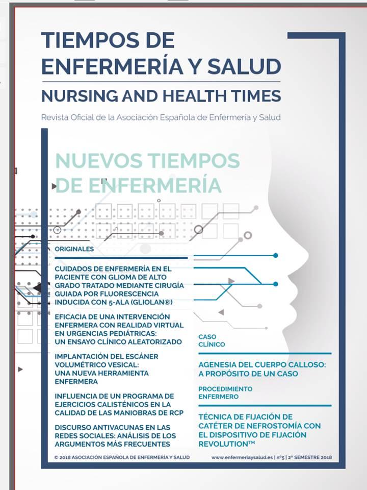 TIEMPOS DE ENFERMERÍA Y SALUD. REVISTA CIENTÍFICA Nº 5 PRIMER SEMESTRE 2019