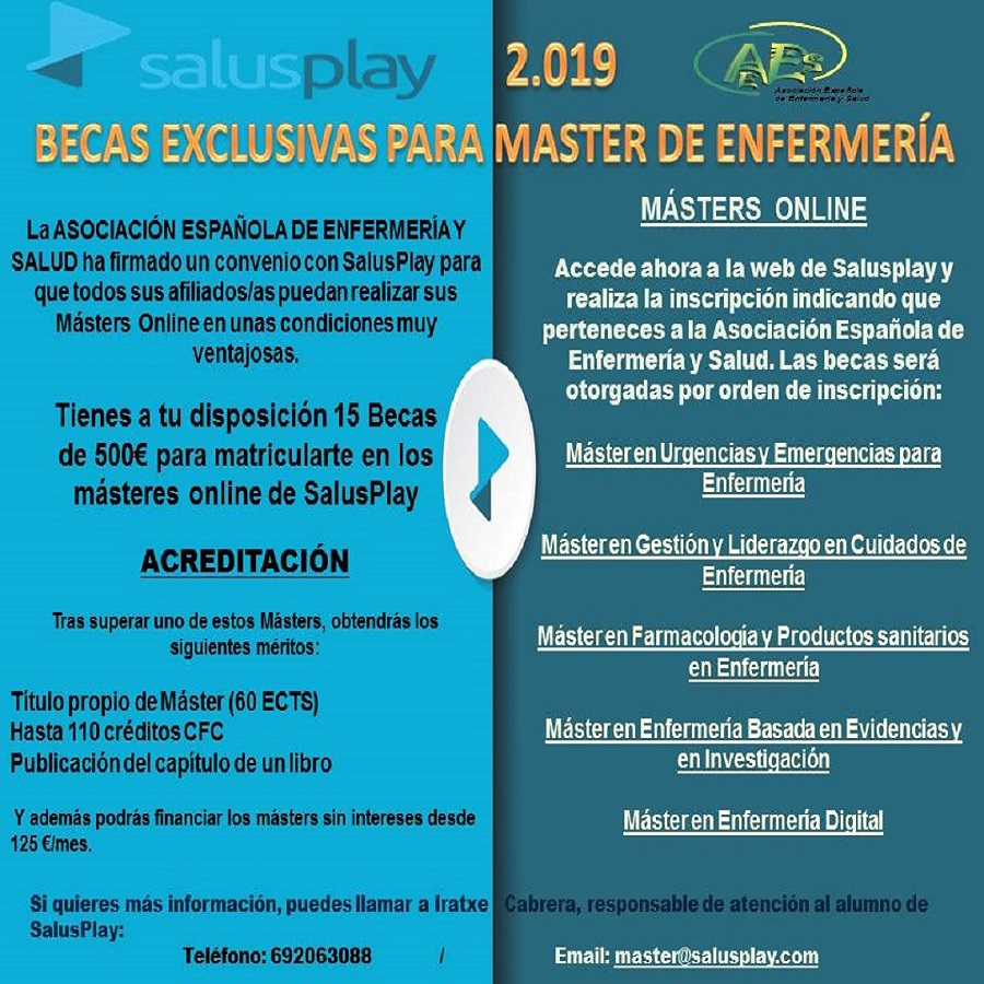 BECAS EXCLUSIVAS PARA MASTER ON LINE DE ENFERMERIA