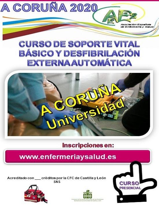 CURSO DE SOPORTE VITAL BÁSICO Y DESFIBRILACIÓN EXTERNA AUTOMÁTICA. A CORUÑA