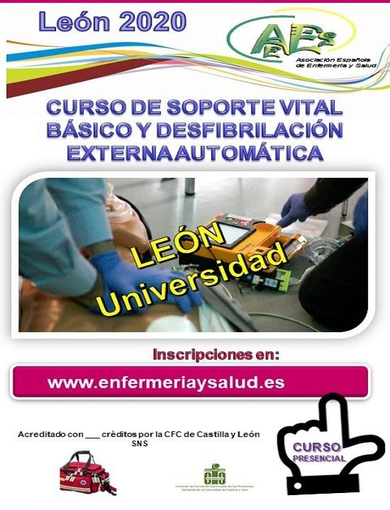 CURSO DE SOPORTE VITAL BÁSICO Y DESFIBRILACIÓN EXTERNA AUTOMÁTICA. LEON