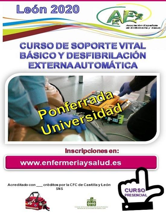 CURSO DE SOPORTE VITAL BÁSICO Y DESFIBRILACIÓN EXTERNA AUTOMÁTICA. PONFERRADA