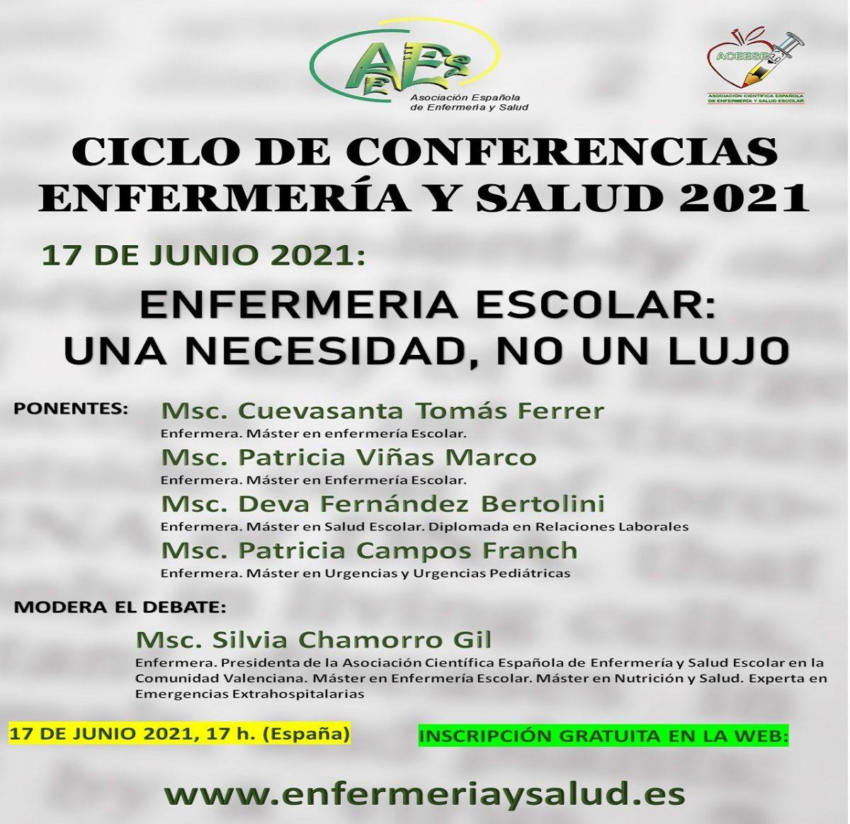 CICLO DE CONFERENCIAS ENFERMERÍA Y SALUD 2021 -SESIÓN DE JUNIO-